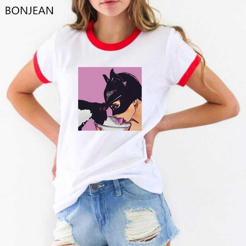 אשת חתול ובאטמן נשיקת הדפסת מצחיק t חולצות נשים harajuku לבן חולצת טי femme tumblr בגדים נשי חולצה חולצות streetwear