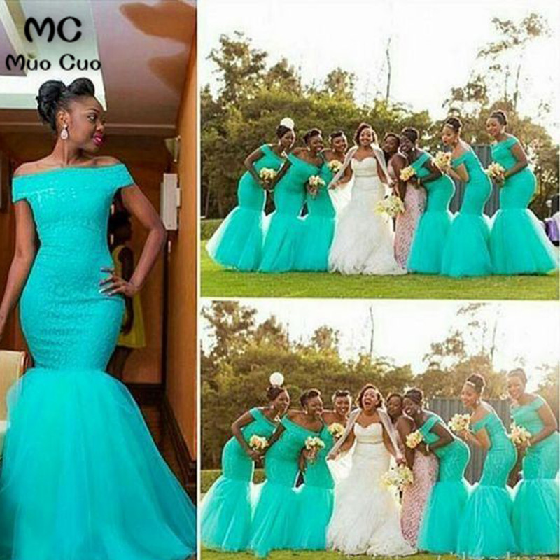 Hot South Africa Style Nigerian Bridesmaid Dresses Plus Size Mermaid Maid Of Honor Gowns For Wedding Off Shoulder Turquoise Tulle Dress_