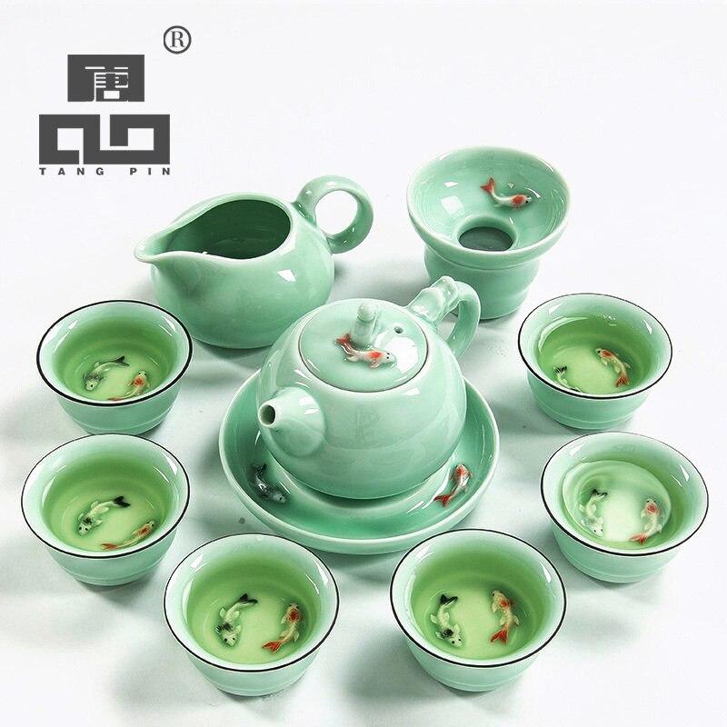 Chinese tea set porcelain tea cups fish relief ceramic tea pot portable tea tray