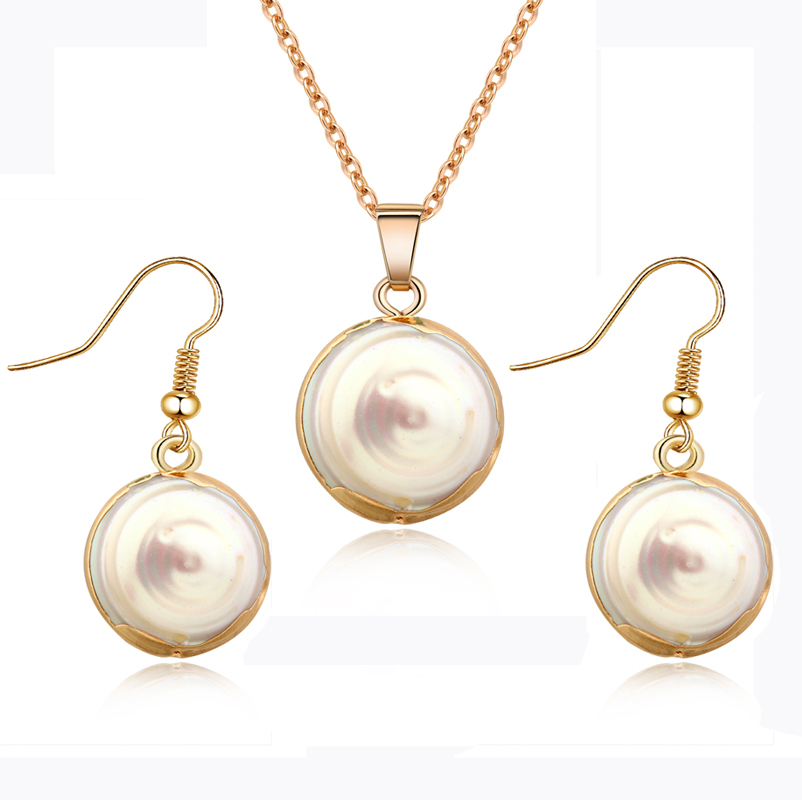 Dayoff Korea Pretty Pearl Dangle Earring Gold Necklace Exquisite Elegant Hook Earring For Women clavicle Women Jewelry E199