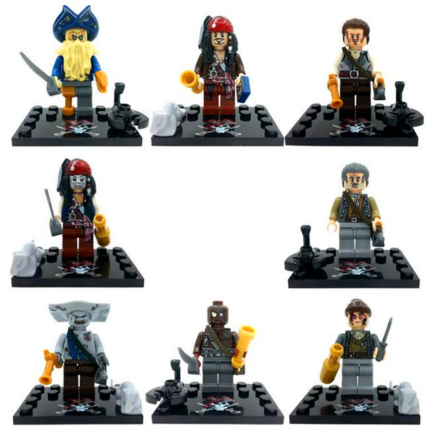 Genuine KSZ 515 8Pcs/Set Caribbean Captain Jack Sparrow David Jones Maccus Santos Henry Carina Smith Model Building Block Toys ...