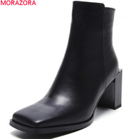 MORAZORA 2020 fahsion new arrive women boots square toe genuine leather boots black white cow leather ankle boots zipper
