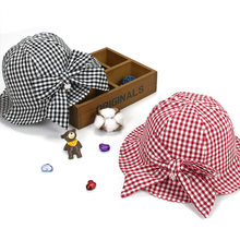ca76faa8 ideacherry Baby Summer Hat Baby Girls Sun Hat Lovely Red Black Plaid with  Bowknot Pearl Bucket