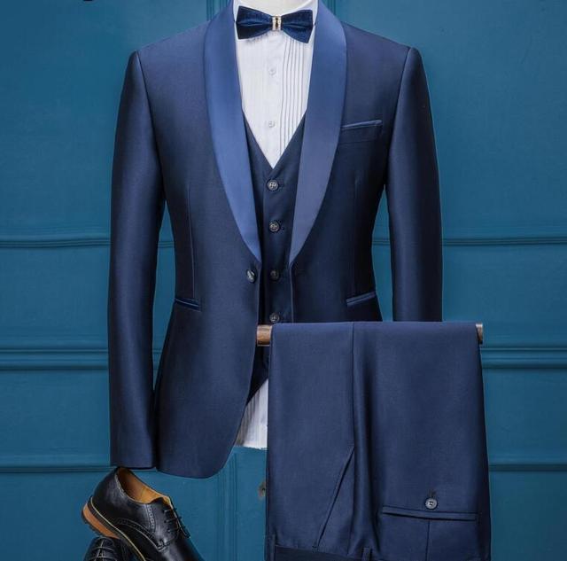Blue Colour One Button Men Slim Fit Suits Classic Groom Wedding ...