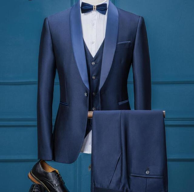7dbdf67d8 Mavi Renk Bir Düğme Erkekler Slim Fit Takım Elbise Klasik Damat Düğün  Smokin Erkekler Için Casual