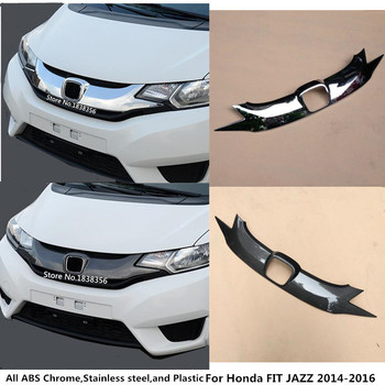 For Honda FIT JAZZ 2014 2015 2016 Car Style Cover Detector ABS Chrome/Carbon Fiber Trim Front Bottom Grid Grill Grille Hood 1pcs