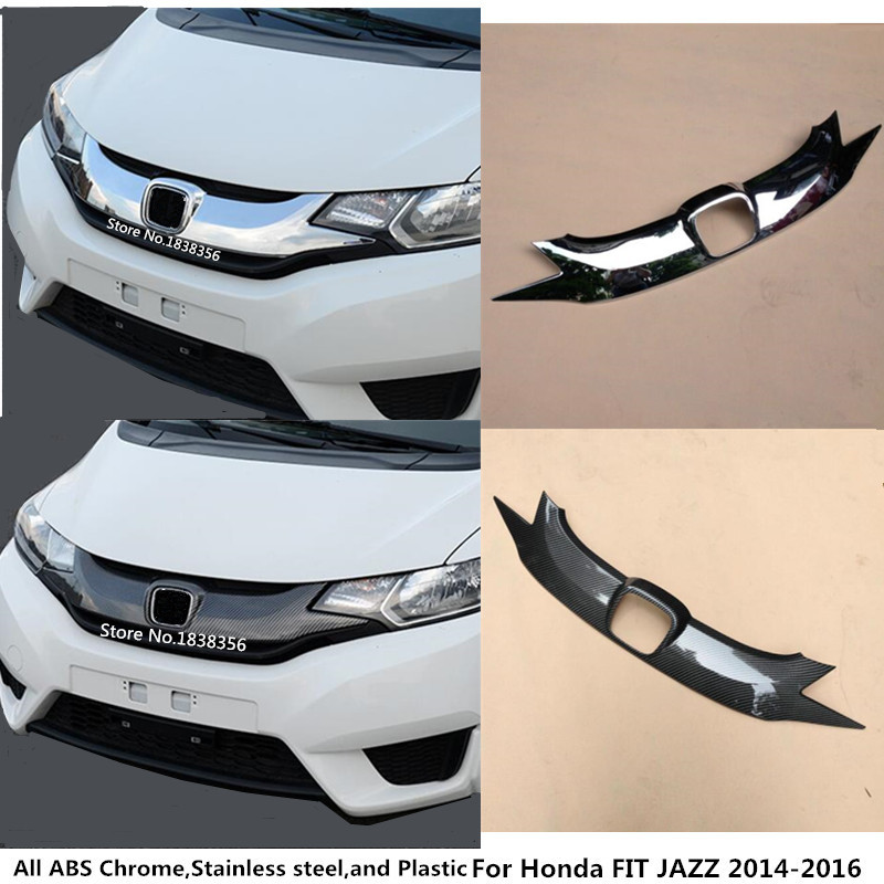 For Honda FIT JAZZ 2014 2015 2016 Car style cover detector ABS Chrome/Carbon fiber trim Front bottom Grid Grill Grille hood 1pcs for nissan teana altima 2013 2014 2015 abs chrome front bottom grill cover grilles trim cover car styling accessories