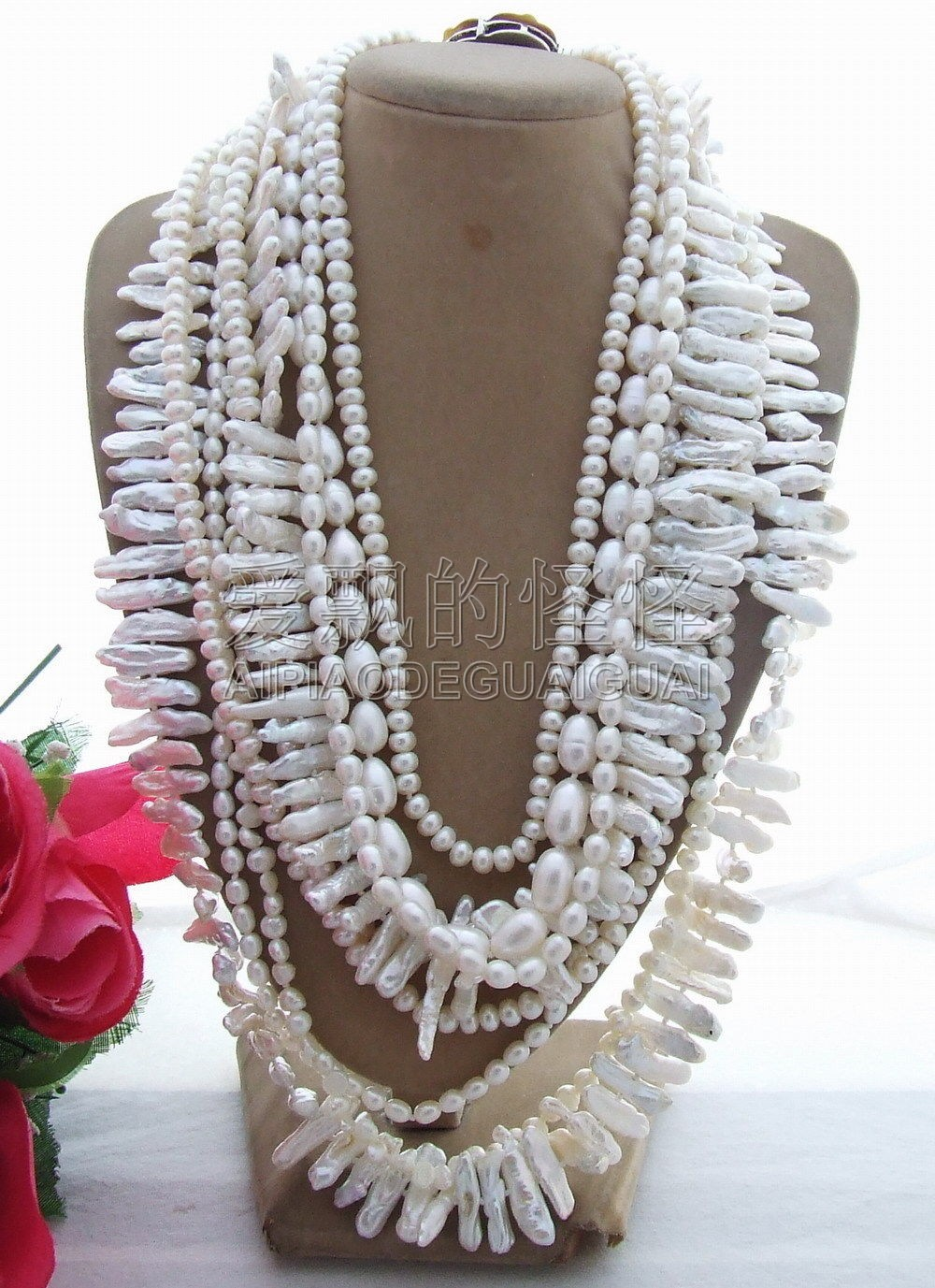 N130619 9Strands Multi Shape Pearl NecklaceN130619 9Strands Multi Shape Pearl Necklace