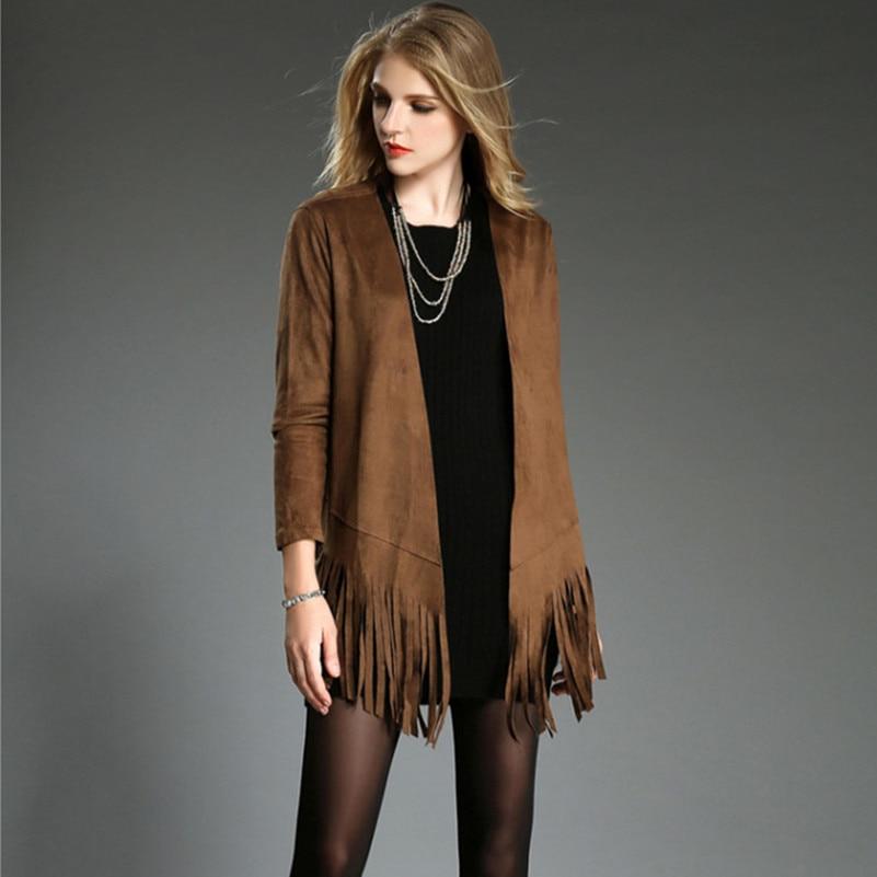 Veste longue en daim pour femme