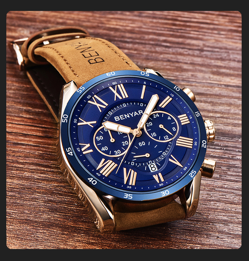 HTB17UcLRzDpK1RjSZFrq6y78VXaF 2019 Top Luxury Brand BENYAR Fashion Blue Watches Men Quartz Watch Male Chronograph Leather WristWatch Relogio Masculino