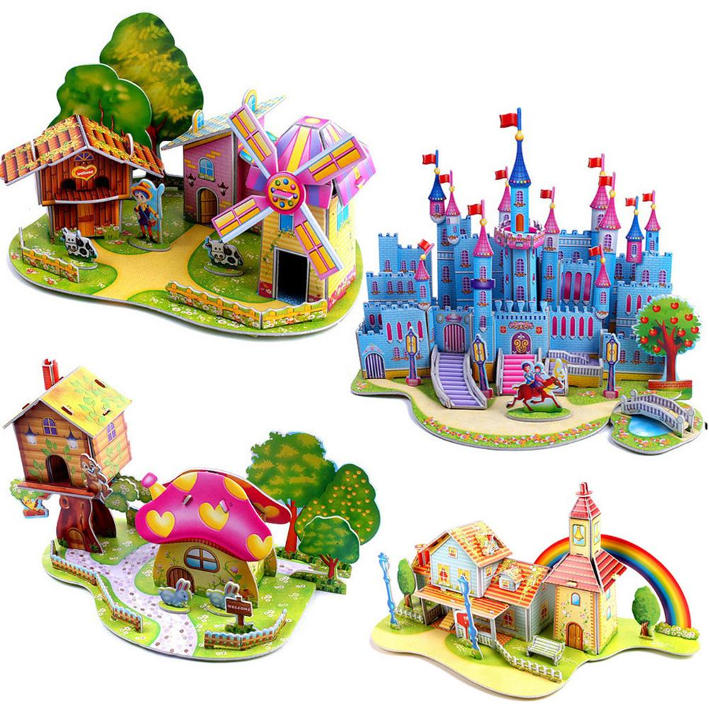 DIY 3D House Castle Windmill Model Assembling Puzzles Early Learning Kids Early Learning Toy Gift Children House Puzzle