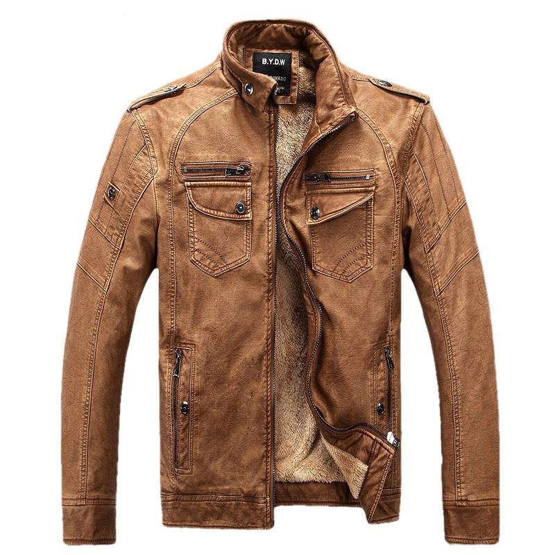 Male Motorcycle Fashion Leather Jacket Men Winter Pilot Leather Jackets And Coats Biker Mantel Mens Faux Fur Coats Famous Brand
