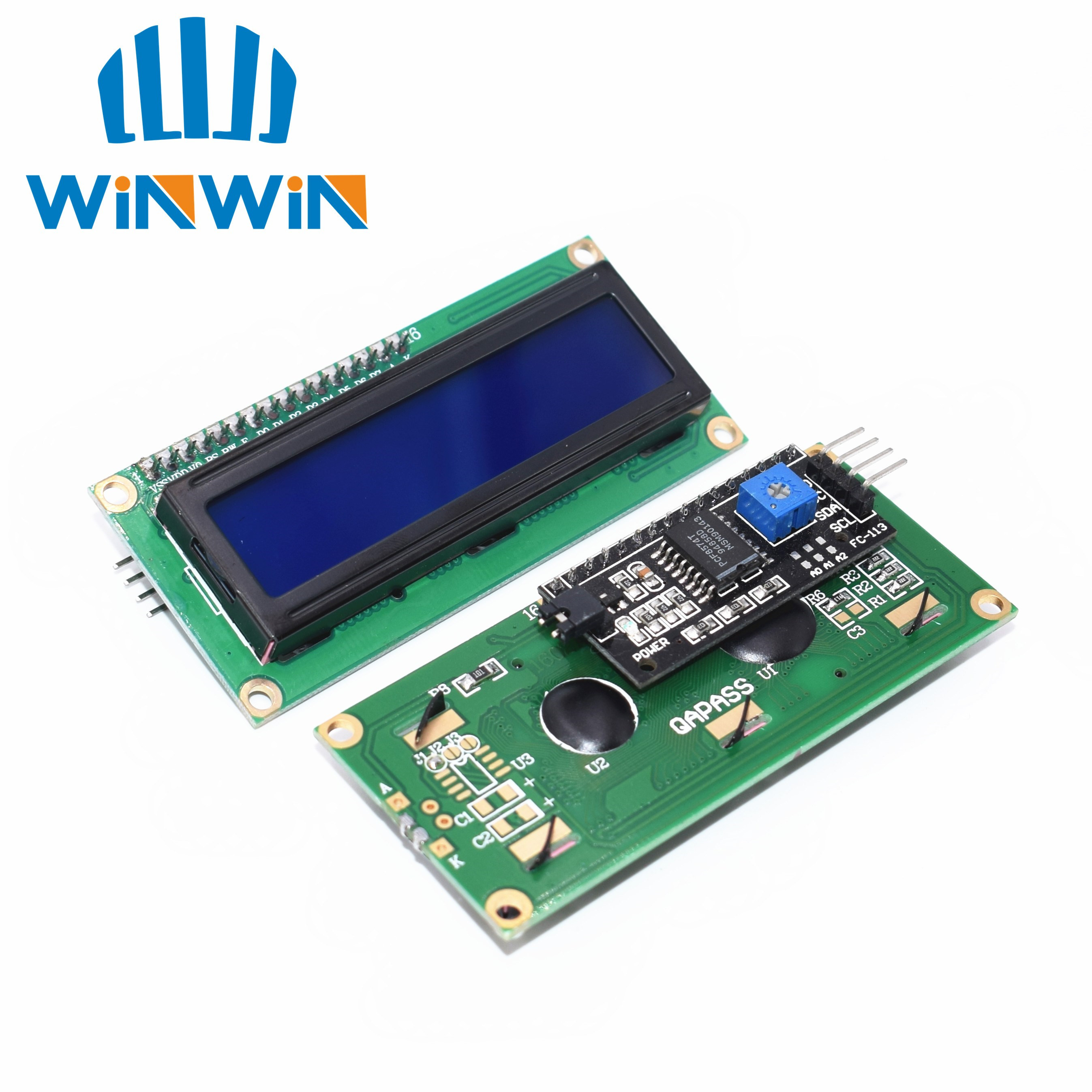 5pcs LCD1602+I2C LCD 1602 Module Blue Screen IIC/I2C LCD1602 IIC LCD1602 Adapter Plate