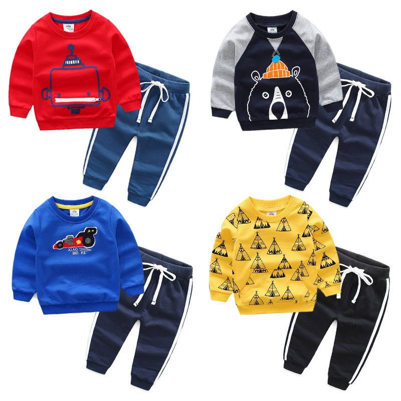 Spring/Autumn Casual Boys Clothing Set T Shirts+Harem Pants Kids Outfits Baby Children Clothes 2018 T1/3798BO 2017 new 2pcs set children clothes set kids baby boys long sleeve t shirt tops harem pants clothes outfit set 2 6y spring autumn