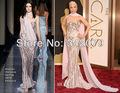 Ph02313 Леди Гага Оскар 2014 русалка с плеча шифон шарф Lady Gaga платье