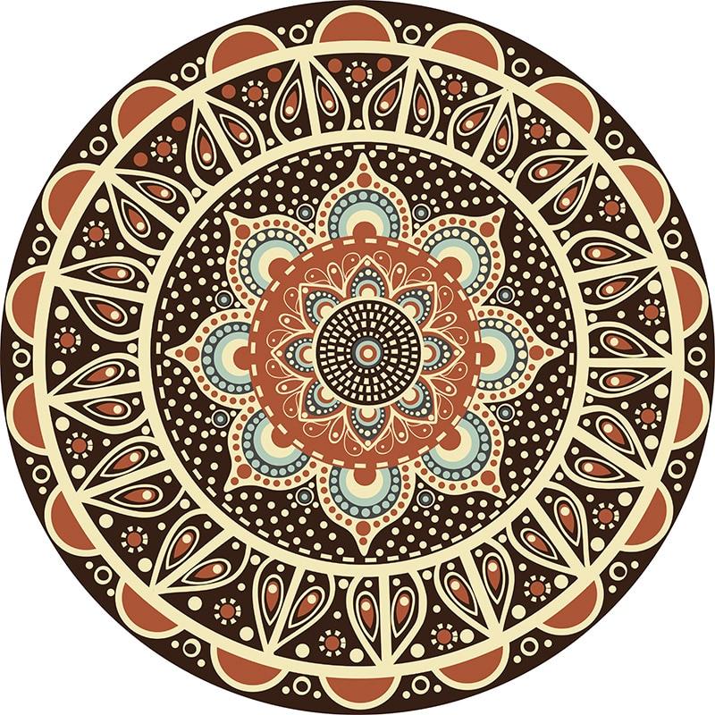 Persian Mandala Pattern Round Carpet Non Slip Ethnic Style Bath Mat Soft Fluffy Velvet Area Rug for Living Room Decor in Carpet from Home Garden