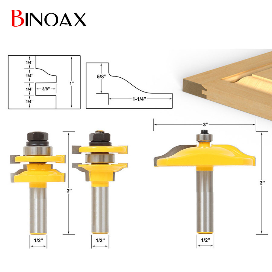 Binoax 3pcs 1 2 Shank Door Panel Woodworking Cutter