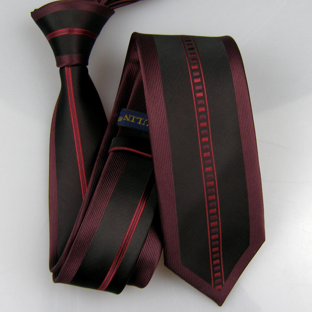 LAMMULIN Ties Border Design Vertical Stripes Necktie Microfiber Skinny Tie 6cm