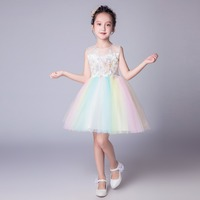 Colorful rainbow dress for teens girl elegant princess dress for birthday and wedding of honor large sizes dress ceremony girl