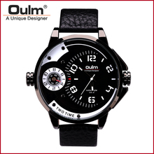 Oulm HP3706 3ATM Waterproof Mens Watches Luxury Army Watch Leather Strap Wristwatches for Male