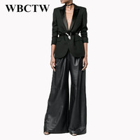 WBCTW 2018 Runway PU Faux Leather Wide Leg Pants Autumn Spring Long Plus Size High Waist Pants Women Solid Black Loose Trousers