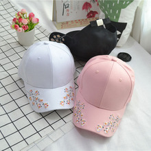 New Arrival Women Korean style Flower Embroidery Baseball Cap Fashion hat Retro Curved Cap Eaves Lovers Caps winter men and women high quality labeling pure cotton baseball cap curved eaves fashion hat