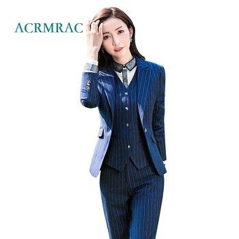 6d75cc02d ACRMRAC trajes mujer otoño y el invierno Delgado chaqueta de rayas  pantalones de traje OL Formal