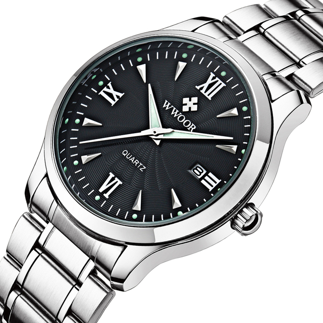 Brand WWOOR Mens Quartz-Watch Dress Watches Dial Auto Date Full Steel Band Gift For Father(Original Japan AL32 Movement)