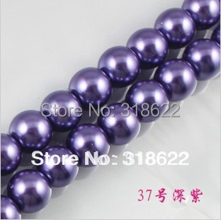 Wholesale 4mm 6mm 8mm 10mm 12mm 14mm 16mm Dark Purple Glass Imitation Pearl Beads Round Loose