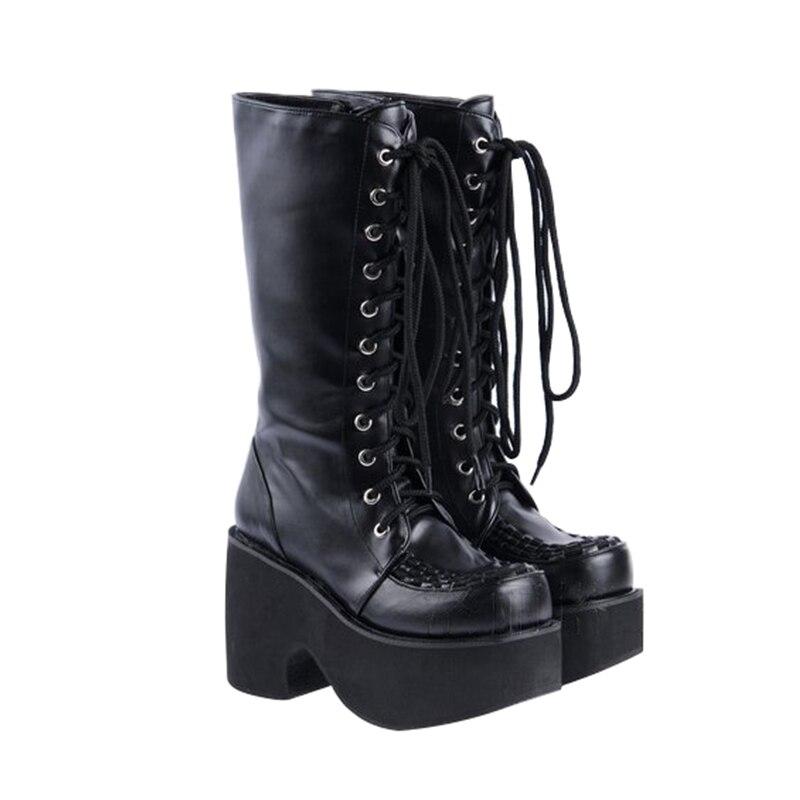 Haute 8cm Punk Femme Cm Cosplay forme Heel Fille Plate Légales Bagatelle Chaussures Lolita Heel Mori Lady Moto 9cm Mentions Femmes Bottes Angéliques Talons 9 3FK1TlJc
