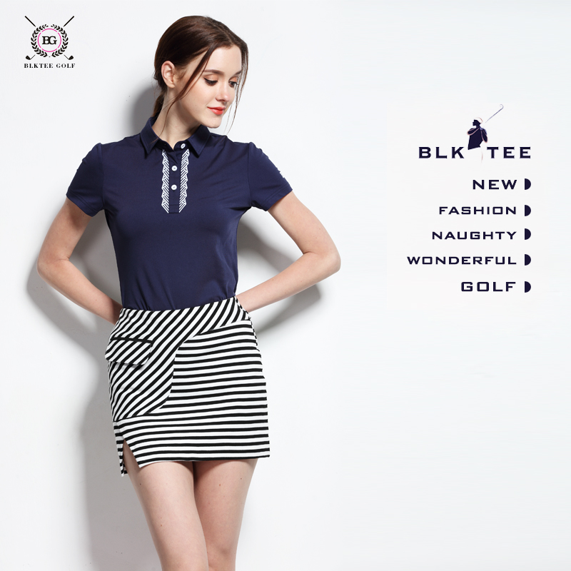 2017 lady golf striped short skirts + shirt women clothes sports set breathable golf top anti emptied short skirt 2 colors S~XL