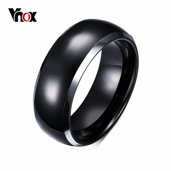 Vnox Mens Rings BASIC 8MM Wedding Bands Black Pure Tungsten Carbide Engagement Ring for Men Jewelry Bague Homme