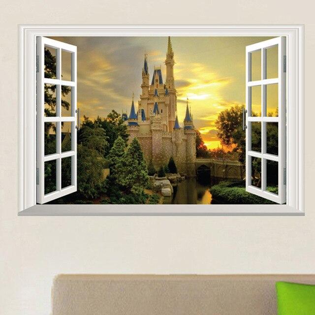 3D 40*60cm Vintage Retro Poster False Window Castle Wall