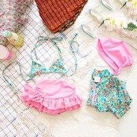 2016 New Girls Baby Kids Children Swimsuit Skirt Hat Floral Patterns Fashions Bikini Swimwears Bathing Suit