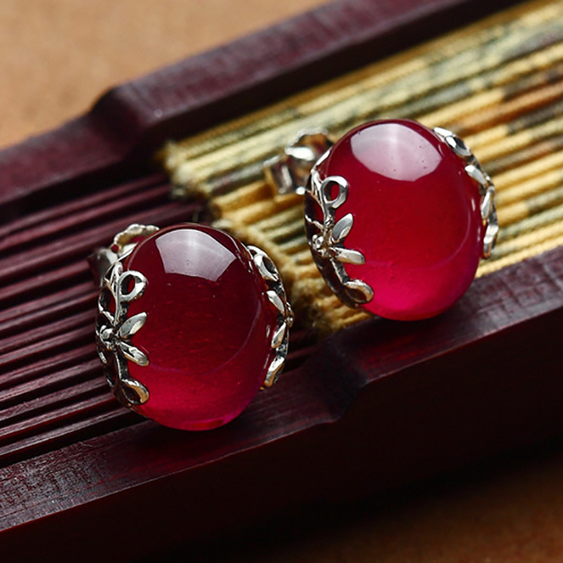 High quality 925 sterling silver women jewelry natural stone Bohemia geometric Red corundum garnet flowers print lovers gift