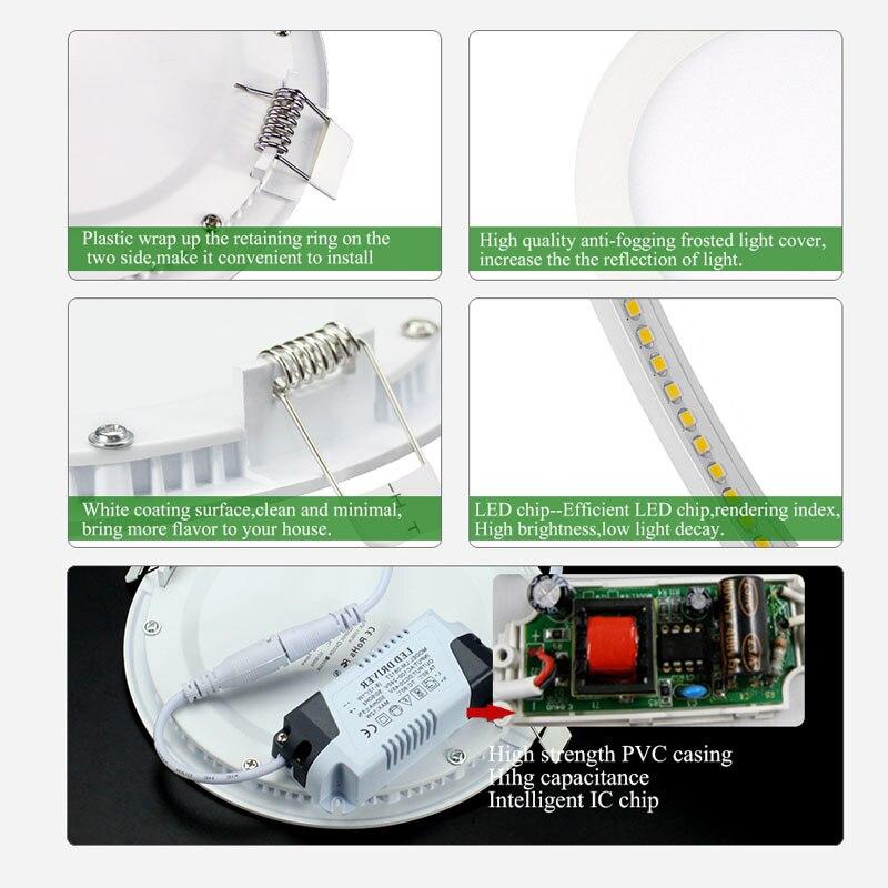 La tache Ultra mince a mené 3W 4W 6W 9W 12W 15W 18W a mené la lumière enfoncée par Downlight de panneau AC85-265V a mené la lumière d'intérieur de maison de lampe de plafond de tache