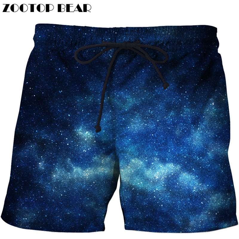 Mens Beach Swim Trunks Galaxy Stars Space Starry Universe Night Sky Boxer Swimsuit Underwear Board Shorts with Pocket