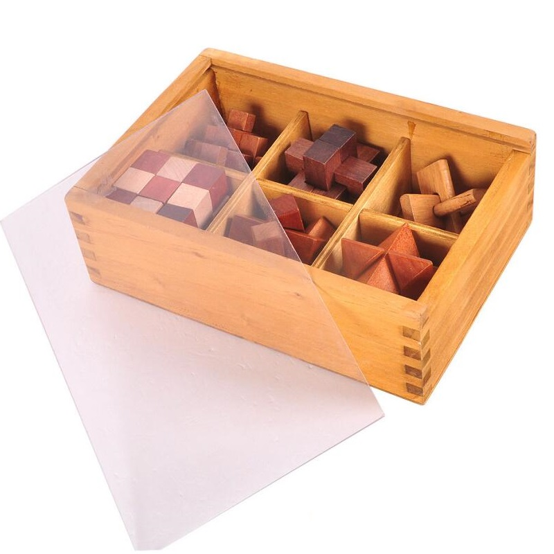 6 pcs/set 3D handmade vintage Ming lock Luban lock wooden toys adults puzzle children adult Christmas gift