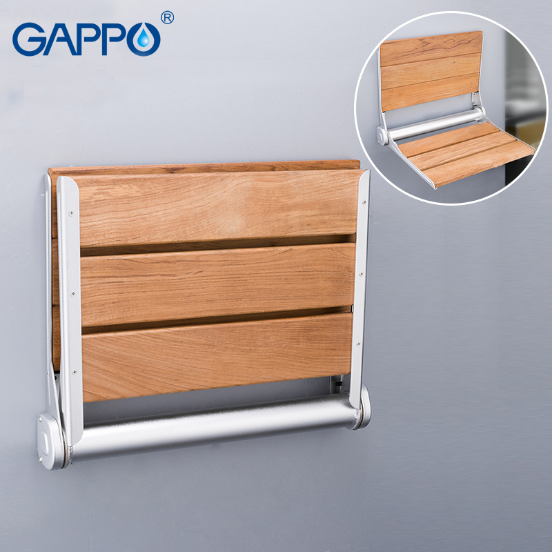 GAPPO Wall Mounted Shower seats wall mounted bathroom chair folding bath seat wood and Aluminium Alloy bench shower chairs gappo wall mounted shower seats wall mounted bathroom chair folding bath seat wood and aluminium alloy bench shower chairs