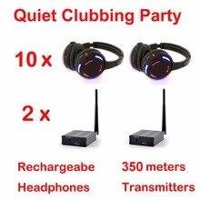 Silencieux Disco système complet noir led casque sans fil silencieux Clubbing Party Bundle (10 écouteurs + 2 émetteurs)