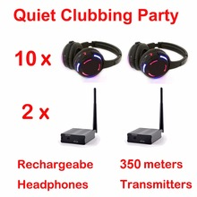 Sistema completo de Disco silencioso auriculares inalámbricos led negros paquete para fiesta de discoteca silencioso (10 auriculares + 2 transmisores)