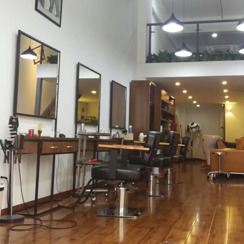 US $390.15 15% OFF|Industrial style barber dressing table modern simple  hair salon iron one side mirror hair salon special floor solid wood  cutting-in ...