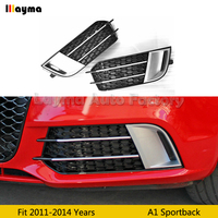 RS1 Style ABS Chrome Front Fog lamp Mask Fog Lights Cover for Audi A1 Sportback 2011 2014 year black car front foglight grills