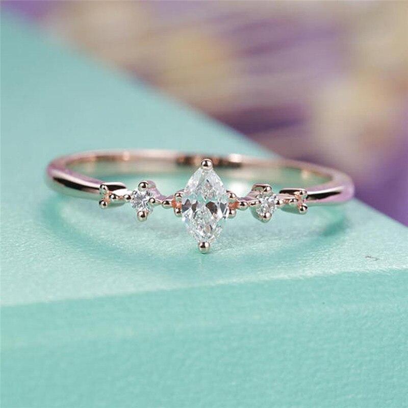 ROMAD המרקיזה Cut אירוסין טבעת לנשים שלוש אבן אשכול כלה טבעות חתונה תכשיטי מעדן נשי אצבע טבעת R4