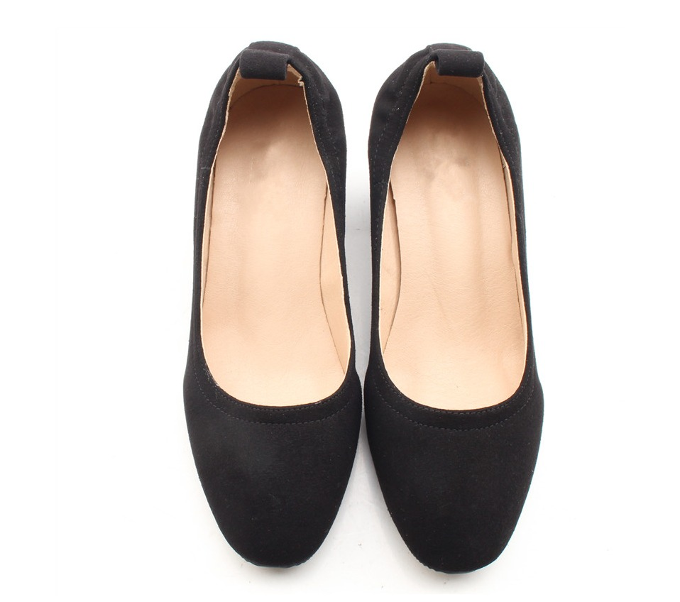 Shoes Women Genuine Leather Fashion Office and Career Rounded Toe 2-inch Block Heel Fashion Office Lady Pumps Size 34-41, K-307 74