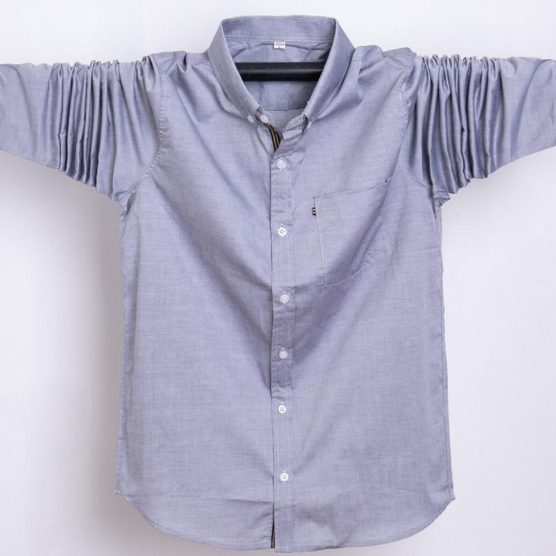 Men Shirt Cotton 2019 Spring Autumn Casual Business Brand Full Sleeve Shirt Homme Solid Man Dress Shirt 5xl 6xl 7xl Plus Size