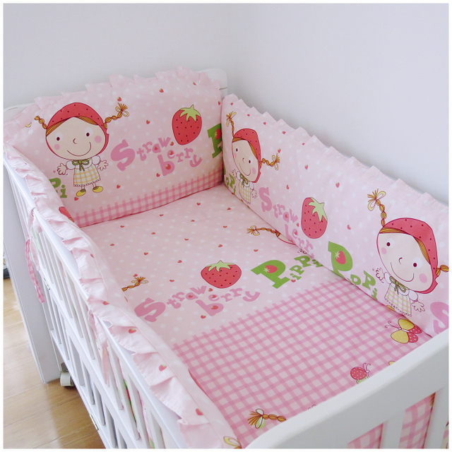 Promotion! 6PCS crib bedding piece set outerwear baby bedding bed around (bumpers+sheet+pillow cover)