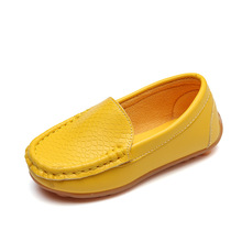 Leather kids shoes 2018 autumn new fashion yellow leather leather ribs soft bott