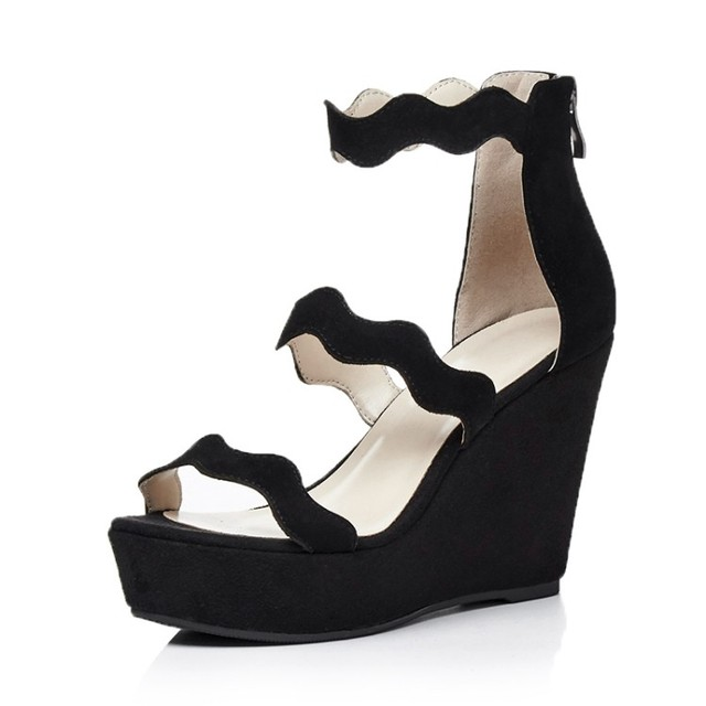 634abd0231 Black/Red High quality Kid Suede Women's Wedges Rome shoes Nubuck Leather  Flat Platform Cover Heel Casual sandals for women