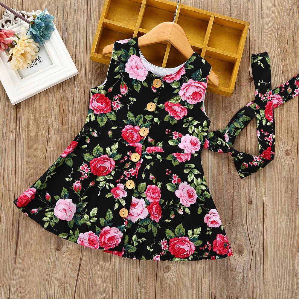Летние Детские платья без рукавов для девочек; Платья с цветочным принтом с розами; хлопковое платье в богемном стиле для малышей; костюм принцессы; детское Повседневное платье